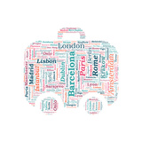European Cities Bag Shaped Word Cloud On White Background - Tourism And Travel Concept Poster af grasycho