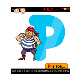 Letter P With Pirate Cartoon Illustration Prints by Igor Zakowski