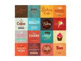 Set Of Retro Bakery Label Cards For Vintage Design, Old Paper Textures Background Prints by Ozerina Anna