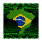 Brazil Map Flag Over Binary Background Illustration Posters by  fintastique