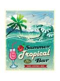 Illustration Of Vintage Seaside Tropical Bar Sign Affiches par  Catherinecml