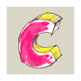 Childlike Gouache Alphabet, Hand Drawn Letter C Art by Andriy Zholudyev