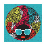 Black Head Woman With Strange Pattern Hair Premium Giclee Print by  panova