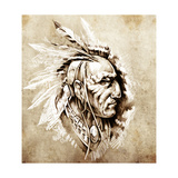 Sketch Of Tattoo Art, American Indian Chief Illustration Prints by  outsiderzone