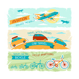 Set Of Horizontal Travel Banners In Retro Style Prints by  incomible