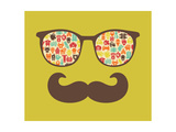Retro Sunglasses With Reflection For Hipster Poster by  panova