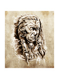 Sketch Of Tattoo Art, Portrait Of American Indian Chief In National Dress Prints by  outsiderzone