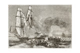 Slaver Vessel Escaping From Military Ship Getting Rid Of Slaves Print by  marzolino