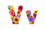 Flower Alphabet Isolated On White - Letter V Posters by  tr3gi