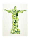 Brazil Go Green Concept Illustration Posters af cienpies