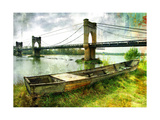 Scene With Old Boat And Bridge - Picture In Painting Style Print by  Maugli-l