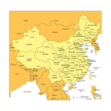 China With Administrative Districts And Surrounding Countries Kunstdruck von Bruce Jones
