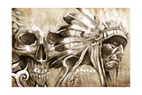 Tattoo Sketch Of American Indian Tribal Chief With Skull Prints by  outsiderzone
