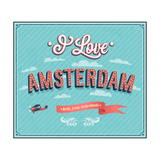 Vintage Greeting Card From Amsterdam - Netherlands Print by  MiloArt