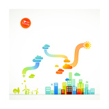 Modern Ecological Town Illustration Posters by  radoma