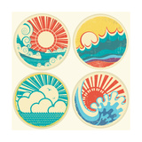 Vintage Sun And Sea Waves Icons Of Illustration Of Seascape On Old Texture Print by  GeraKTV