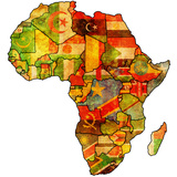 African Union On Actual Map Of Africa Prints by  michal812