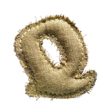 Linen Vintage Cloth Letter Q Isolated On White Prints by  smaglov