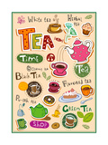 Set Of Tea Design Elements And Inscriptions Poster von Anastasiya Zalevska