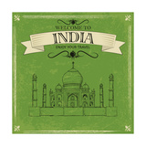 Taj Mahal Of India For Retro Travel Poster Prints by  stockshoppe