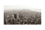 New York City Manhattan Skyline Aerial View Panorama Black And White With Skyscrapers And Street Prints by Songquan Deng