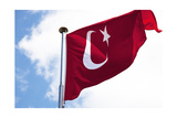 Turkish Flag Is Waving In Front Of A Cloudy Sky Poster