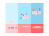 People And Clouds. Success Concept Illustration Print by  meganeura