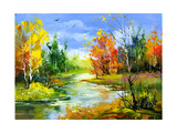 The Autumn Landscape Executed By Oil On A Canvas Prints by  balaikin2009