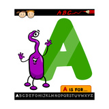 Letter A With Alien Cartoon Illustration Prints by Igor Zakowski