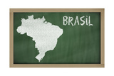 Outline Map Of Brazil On Blackboard Prints by  vepar5