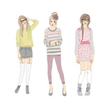 Young Fashion Girls Illustration. Teen Females Poster by cherry blossom girl