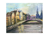 The Bridge Through The River In An Old City Prints by  balaikin2009