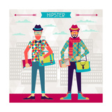 Two Hipsters On Urban Background In Retro Style Prints by  incomible