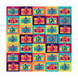 Seamless Pattern In Retro Style With Cameras Poster by  incomible