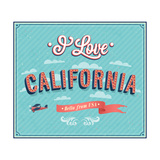 Vintage Greeting Card From California - Usa Prints by  MiloArt