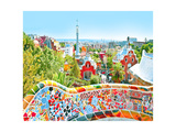 The Famous Summer Park Guell Over Bright Blue Sky In Barcelona, Spain Print by  Vladitto