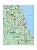 Greater Chicago Metropolitan Area Map Poster by  BFordyce