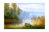 Wooden Boat On The Bank Of Lake On A Decline Prints by  balaikin2009