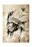 Sketch Of Tattoo Art, Native American Indian Head, Chief, Vintage Style Print by  outsiderzone