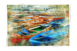 Artistic Picture In Painting Style - Boats In Naples Port Posters by  Maugli-l