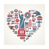 America Love - Heart Art par  Marish