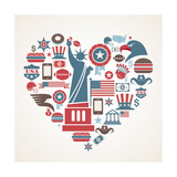 America Love - Heart Premium Giclee Print by  Marish