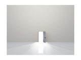 Single Door In Pure White Space Emits Light Art by  rolffimages