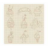 Set Of Cute Cupcakes And Desserts - For Design, Scrapbook, Invitaion Art by  woodhouse