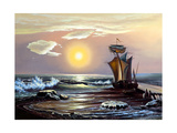 Sailing Boat Against The Coming Sun Prints by  balaikin2009