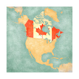 Map Of North America - Canada (Vintage Series) Art by  Tindo