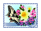 Postage Stamp. Butterfly And Flowers Prints by  GUARDING-OWO