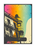 Romantic Urban Background With Retro Graphic Elements And Rainbow Flow Print by  shootandwin
