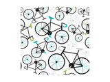 Seamless Fixed Gear Bicycle Illustration Pattern Prints by Maaike Boot