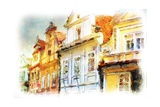 Street In Old Part Of Prague Made In Artistic Watercolor Style With Texture Posters by Timofeeva Maria